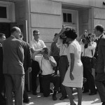 Today in Afro History ! Governor George Wallace tries to prevent Afro American Students from registering at the University of Alabama in 1963. Vivian Malone Jones being escorted in by Deputy U.S. Attorney General.